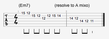 Em7 arpeggio resolving to A mixolydian